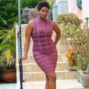 WOW Couture sheer mauve dress